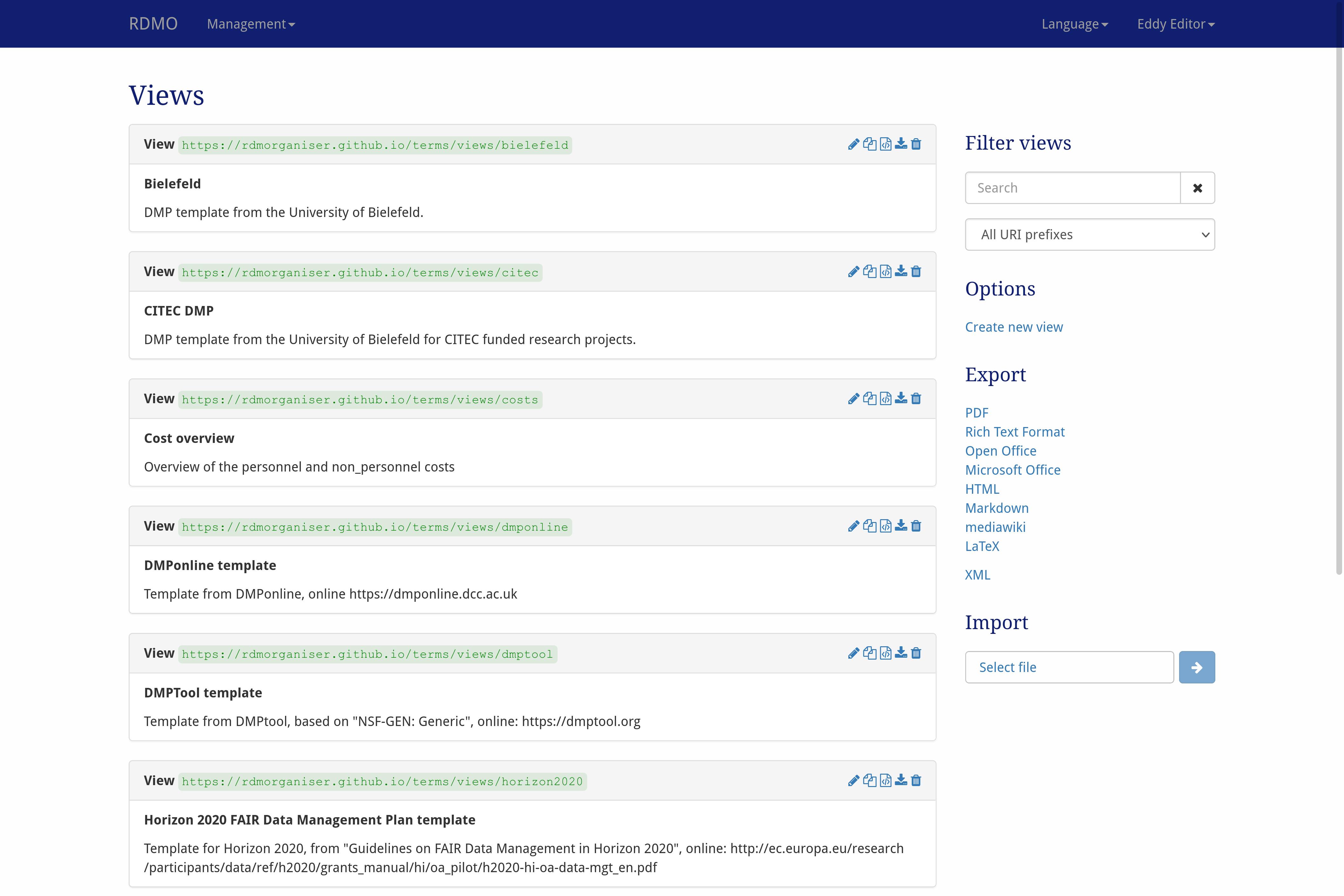 Views — RDMO Documentation 0.10.5 documentation